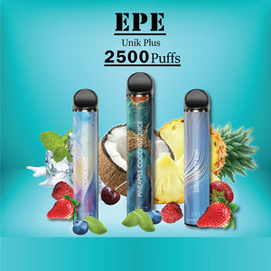 EPE -Unik plus - Disposable Vape - 3 in a row in front of various fruits, ice cubes, coffee beans, and an energy drink with blue background.