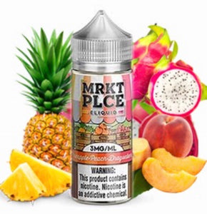 MRKT PLCE - Pineapple Peach Dragonberry - 100ML Vape Juice - 100ML plastic bottle set in front of whole and sliced pineapple, mango, and dragonfruit.