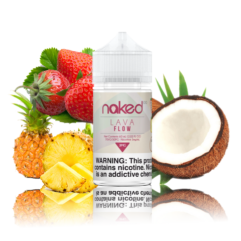 Naked 100 - Lava Flow - 60ml Vape Juice - 60ML plastic bottle surrounded by a half coconut, pineapple, and strawberries.