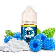 BMF Salts - Jolly Blue Raspberry - 30ML Vape Juice - 30ML plastic bottle with a blue label, surrounded by several blue raspberries, green leaves, and white square pop rock candies.