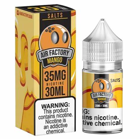Air Factory Salts - Mango - 30ML Vape Juice -30ML plastic bottle and box with yellow and orange labels.