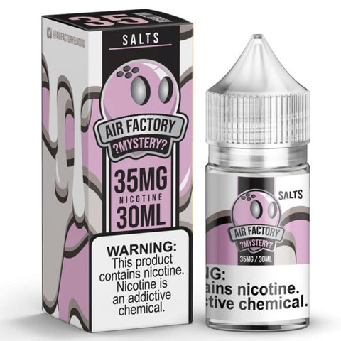 Air Factory Salts - Mystery - 30ML Vape Juice - 30ML plastic bottle and box with light purple and white labels.