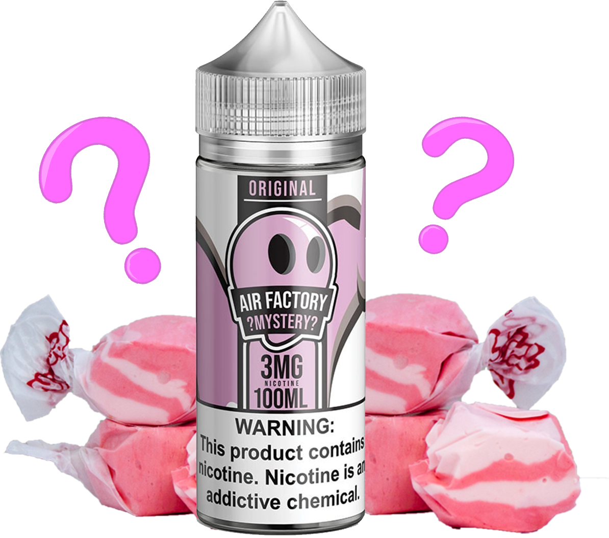Air Factory 100ml bottle surrounded by mystery flavored taffy candy. All day vape!