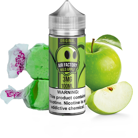 Air Factory - Wild Apple - 100ML Vape Juice - Green Apple Taffy Candy Plastic Bottle