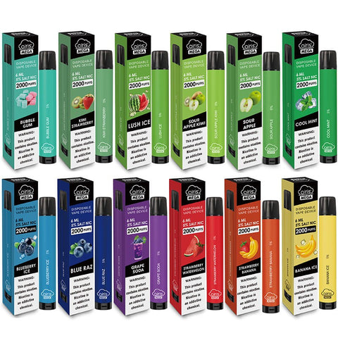 Airis - Mega - 2000 Puffs - Adjustable Airflow - Disposable Vape - Two rows of 6 for a total of 12 different flavors