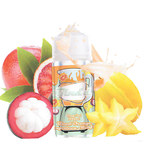 Blnd's Blood Orange Mangosteen Starfruit 100ML plastic bottle surrounded by blood oranges, starfruit, and mangosteen.