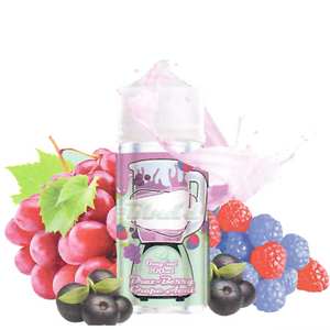 Blnd'd Braz-Berry Grape Acai 100ML plastic bottle surrounded by red and blue raspberries, red grapes, and acai berries.