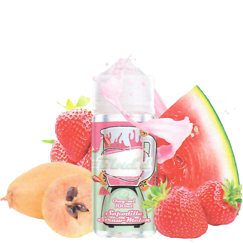 Blnd'd Sapodilla Straw-Melon 100ML plastic bottle surround by sliced watermelon, strawberries, and sapodilla.