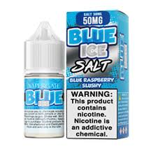 Vapergate - Blue Ice - 30ML Vape Juice - Blue and white box and 30ML plastic bottle sitting beside each other.