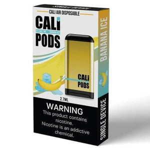 Cali Pods - Cali Air - Disposable Vape - One white box with yellow wave, banana, ice cubes and yellow device on label.
