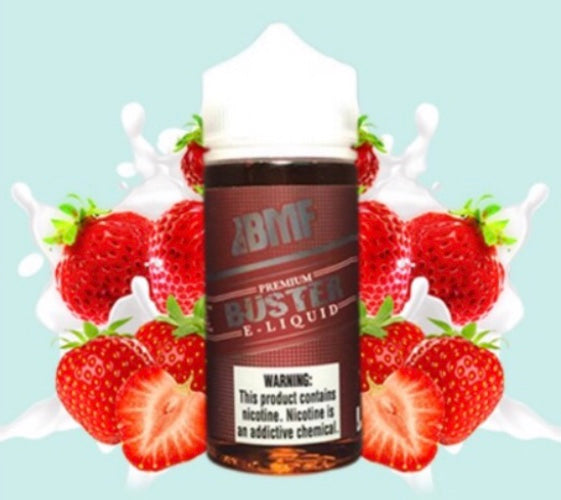 Bad Modder Fogger - Buster - 100ML Vape Juice - 100ML plastic bottle surrounded by strawberries and splashes of milk.