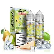 Finest - Apple Pearadise Ice - 120ML Vape Juice - 2 60ML plastic bottles and their with light green labels, surrounded by pears. green apples, and ice cubes.