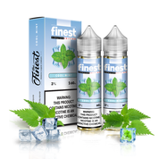 Finest - Cool Mint - 120ML Vape Juice - 2 60ML plastic bottles and their box with light blue labels beside mint leaves and ice cubes.