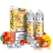 Finest - Mango Berry Ice - 120ML Vape Juice - 2 60ML plastic bottles and their box with yellow labels surrounded by mangos, strawberries, and ice cubes.