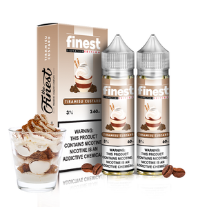 Finest - Tiramisu Custard - 120ML Vape Juice - 2 60ML plastic bottles and their box with light brown labels beside a small layered glass of white and brown custard plus a few coffee and vanilla beans.