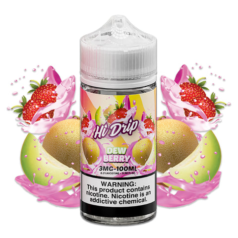 Hi Drip - 100ML plastic Dew Berry bottle surrounded by honeydew melon and strawberries.
