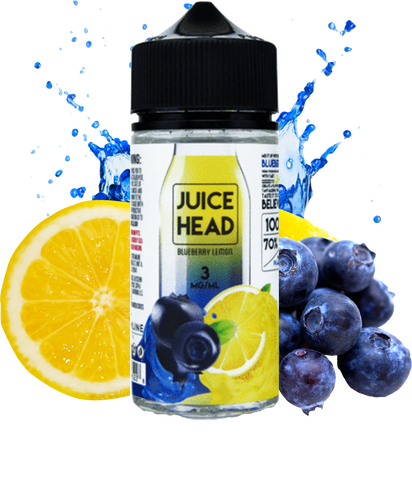 Juice Head Blueberry Lemon 100ML Vape Juice plastic bottle surrounded by half a lemon and several blueberries.