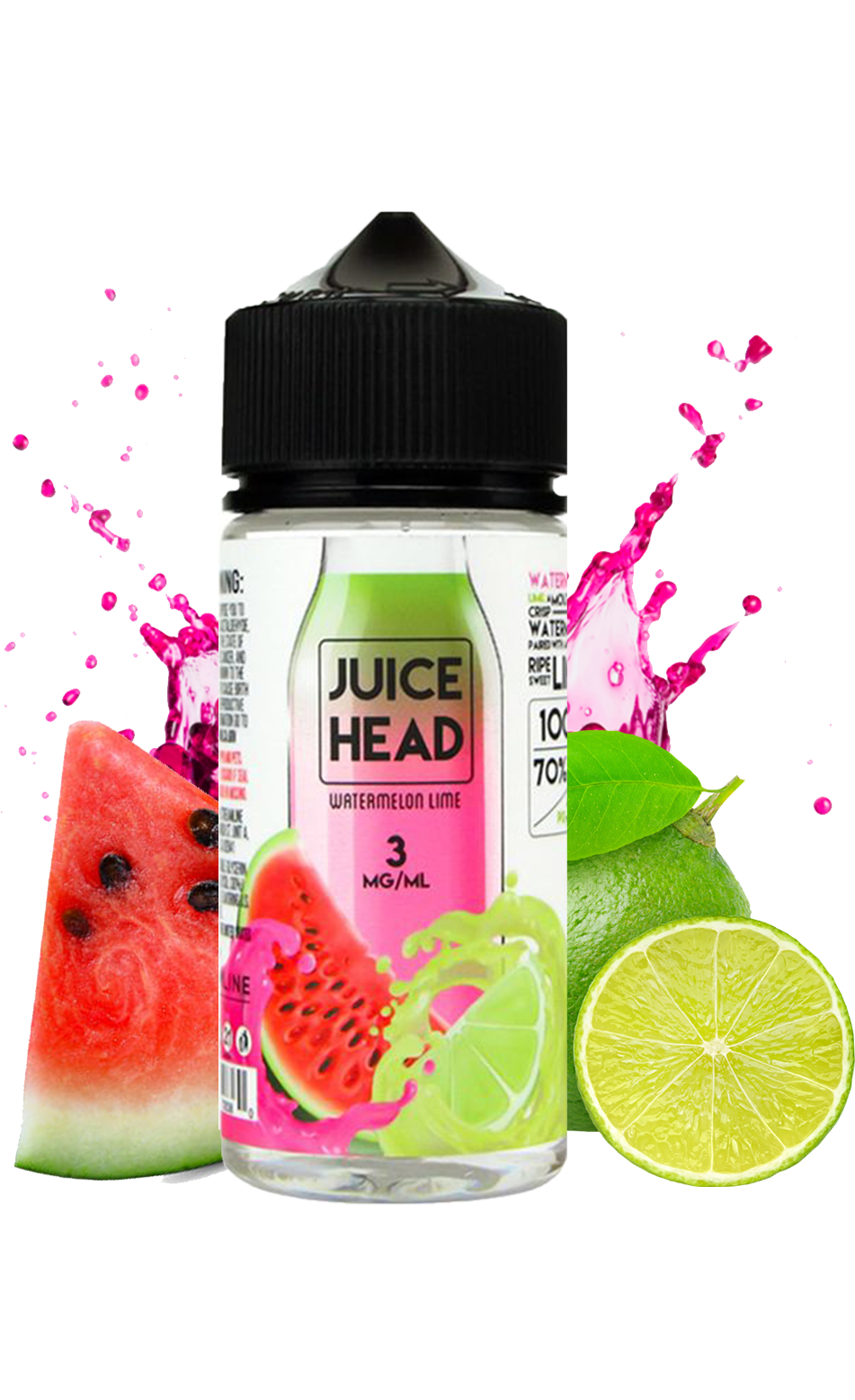 Juice Head Watermelon Lime 100ML Vape Juice plastic bottle surrounded by sliced watermelon and lime.