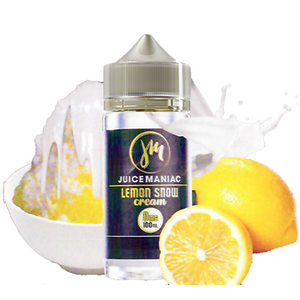 Juice Maniac Lemon Snow Cream 100ML plastic bottle with a bowl of iced lemon with cream on top on one side and lemons on the other.