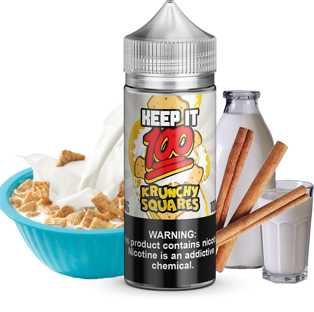 Keep It 100 - Krunchy Squares - 100ML Vape Juice - Cinnamon Toast Crunch Cereal With Milk and Cinnamon Flavor