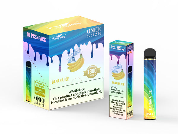 KangVape - Onee Stick 1800 Puffs - Disposable Vape - Dark blue/light blue/yellow device standing next to its box and case with white and blue/yellow labels.