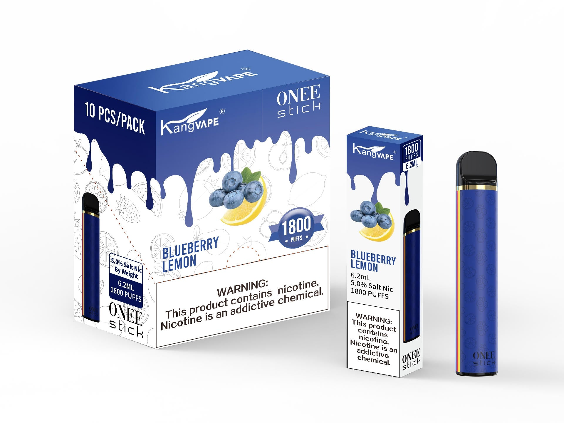 KangVape - Onee Stick 1800 Puffs - Disposable Vape - Dark blue device standing next to its box and case with white and dark blue labels.