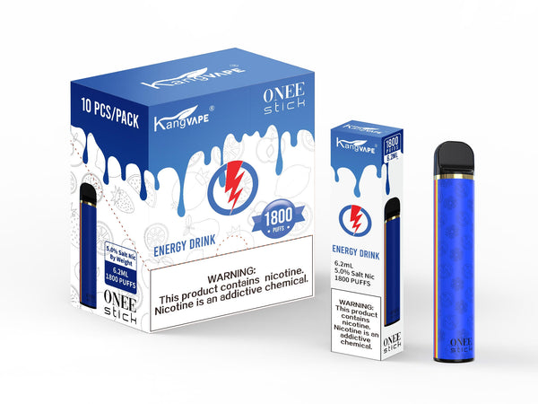 KangVape - Onee Stick 1800 Puffs - Disposable Vape - Blue device standing next to its box and case with white and blue labels.