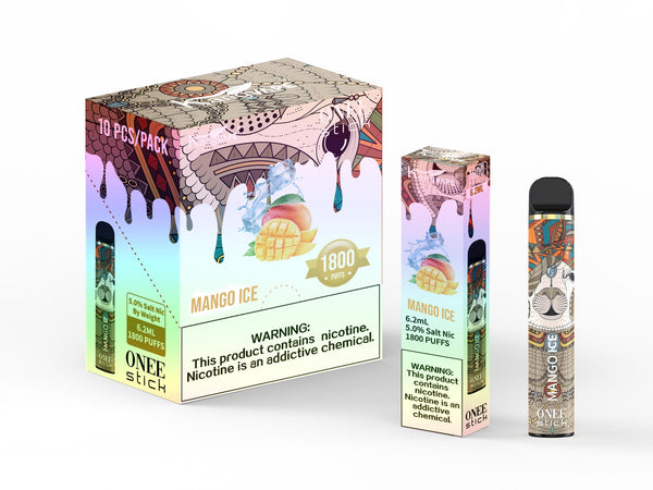 KangVape - Onee Stick 1800 Puffs - Disposable Vape - Brown/orange/blue with cream-colored horse face (with gem hanging at its forehead) in the middle device standing next to its box and case with white and brown/pink/red labels.