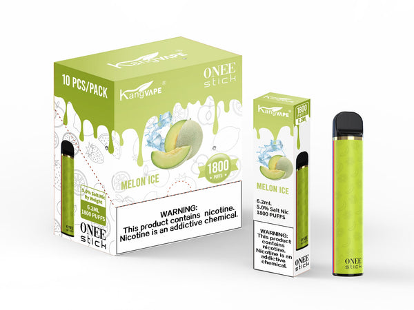 KangVape - Onee Stick 1800 Puffs - Disposable Vape - Light green device standing next to its box and case with white and light green labels.