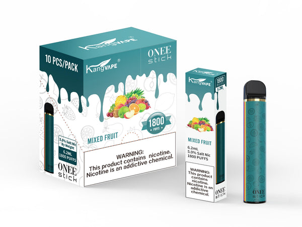 KangVape - Onee Stick 1800 Puffs - Disposable Vape - Teal device standing next to its box and case with white and teal labels.