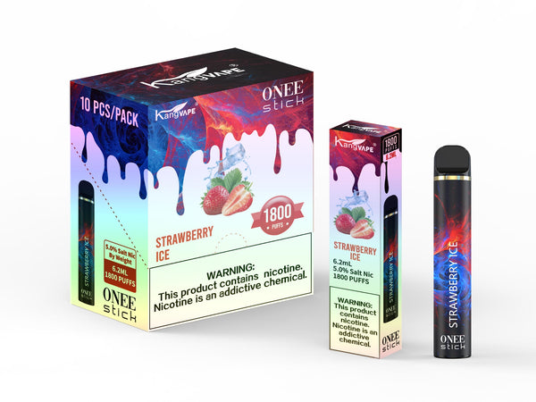 KangVape - Onee Stick 1800 Puffs - Disposable Vape - Black/red/dark blue device standing next to its box and case with white and red/dark blue labels.