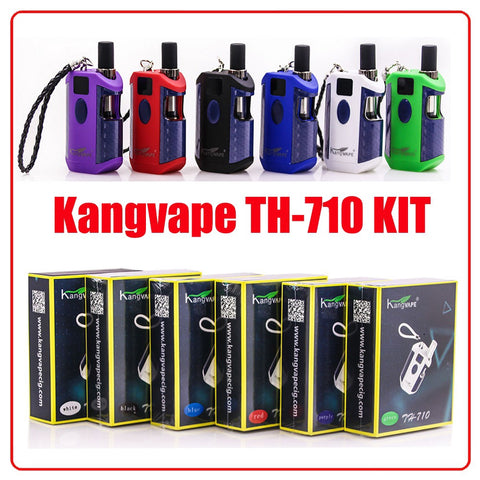 KangVape - TH-710 Box - Vape Kit - 6 devices in a row over a row of their boxes.