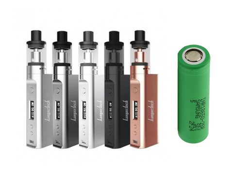 Kanger Subox Mini-C (battery included), 5 in a line in different colors plus a green 25R battery.