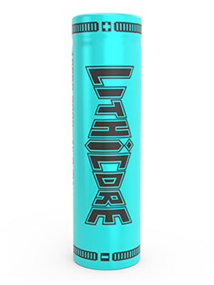 Lithicore - 18650 - 3000mAh - Battery - one standing teal battery with the Lithicore name side facing forward.
