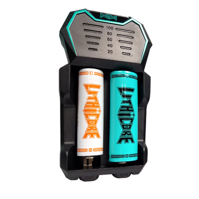 Lithicore - Edge 2 - Lithium - Battery Charger - black 2-bay battery charger with LED power levels at the top with one teal and one white Lithicore battery inserted.