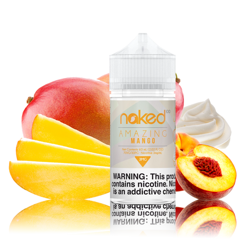 Naked 100 - Amazing Mango - 60ml Vape Juice - 60ML plastic bottle surrounded by whole and sliced mango, a half peach, and whipped cream.