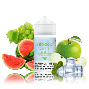 Naked 100 - Apple - 60ML Vape Juice - 60ML plastic bottle in the center with a green, blue, and white label, grapes and sliced watermelon on one side, plus whole and sliced apples and ice on the other.