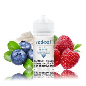 Naked 100 - Azul Berries - 60ML Vape Juice - 60ML plastic bottle with a light blue and white label in the center with several blueberries on one side and strawberries on the other.