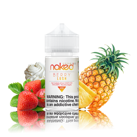 Naked 100 - Berry Lush - 60ML Vape Juice - 60ML plastic bottle with a white label in the center, with several strawberries on the side and a pineapple on the other.
