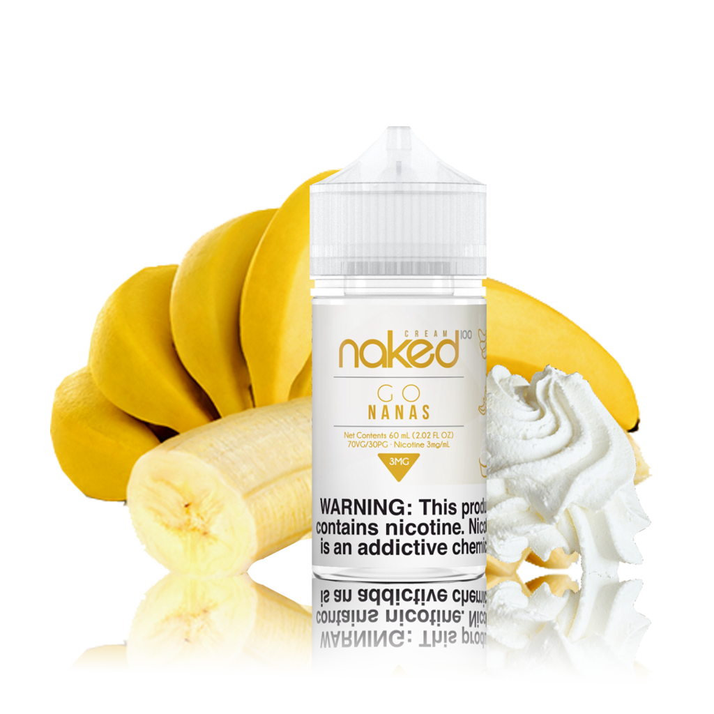Naked 100 - Banana - 60ml Vape Juice - 60ML plastic bottle surrounded by bananas and whipped cream.