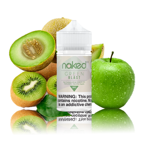 Naked 100 - Green Blast - 60ml Vape Juice - 60ML plastic bottle surrounded by sliced kiwi and honeydew plus one green apple.