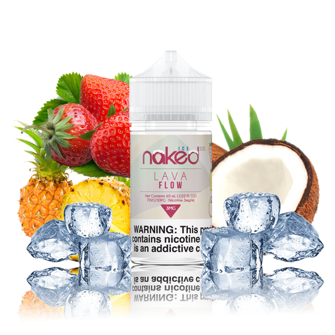 Naked 100 - Lava Flow Ice - 60ML Vape Juice - 60ML plastic bottle surrounded by a half coconut, pineapple, strawberries, and ice cubes.
