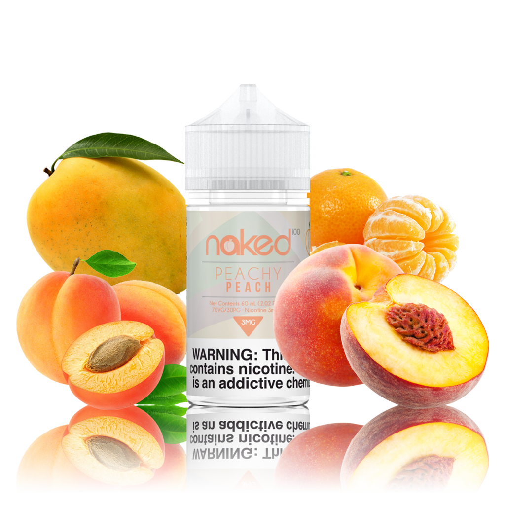 Naked 100 - Peachy Peach - 60ML Vape Juice - 60ML plastic bottle with an orange and white label, plus whole and half mangoes and peaches on each side.