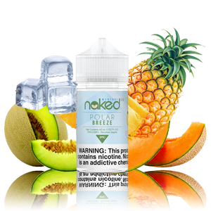 Naked 100 - Polar Breeze - 60ML Vape Juice -60ML plastic bottle surrounded by pineapple, cantaloupe, honeydew, and ice cubes.