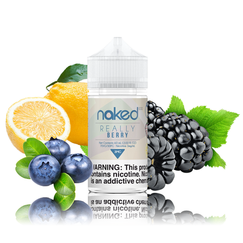 Naked 100 - Really Berry - 60ml Vape Juice - 60ML plastic bottle surrounded by blackberries, blueberries, and lemon.