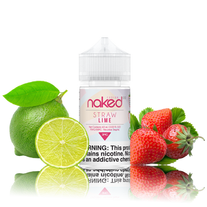 Naked 100 - Straw Lime - 60ML Vape Juice - 60ML plastic bottle with a red and white label in the center with a whole and half lime on one side and strawberries on the otherl