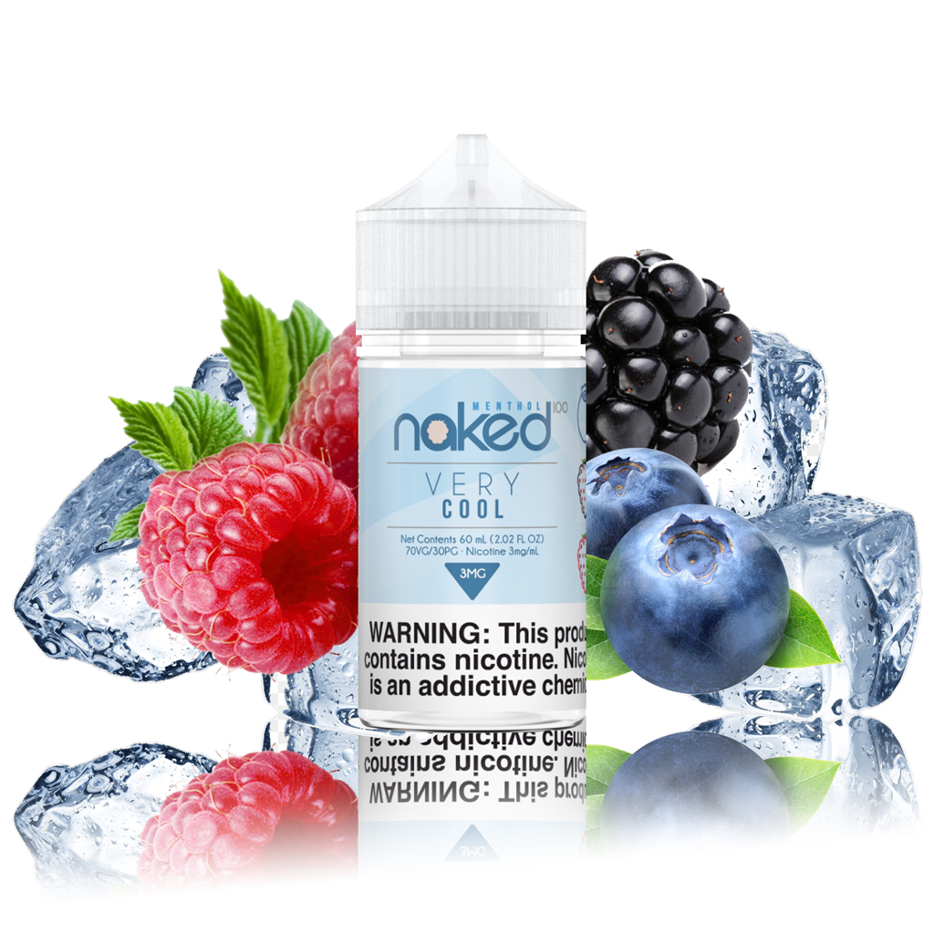 Naked 100 - Berry - 60ml Vape Juice - 60ML plastic bottle surrounded by raspberries, blackberries, blueberries, and icecubes.