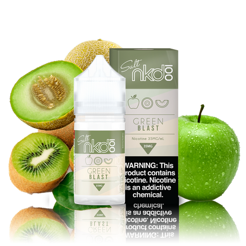 Naked 100 Salts Green Blast green and white box and 30ML plastic bottle surrounded by a green apple and sliced kiwi and honeydew.