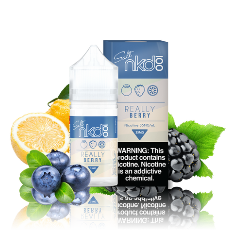Naked 100 Salts Really Berry blue and white box and 30ML plastic bottle surrounded by blueberries, blackberries, and sliced lemon.
