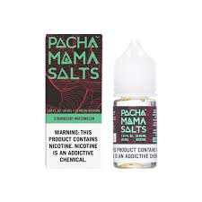 Pacha Mama Salts Strawberry Watermelon black and green box and 30ML plastic bottle.